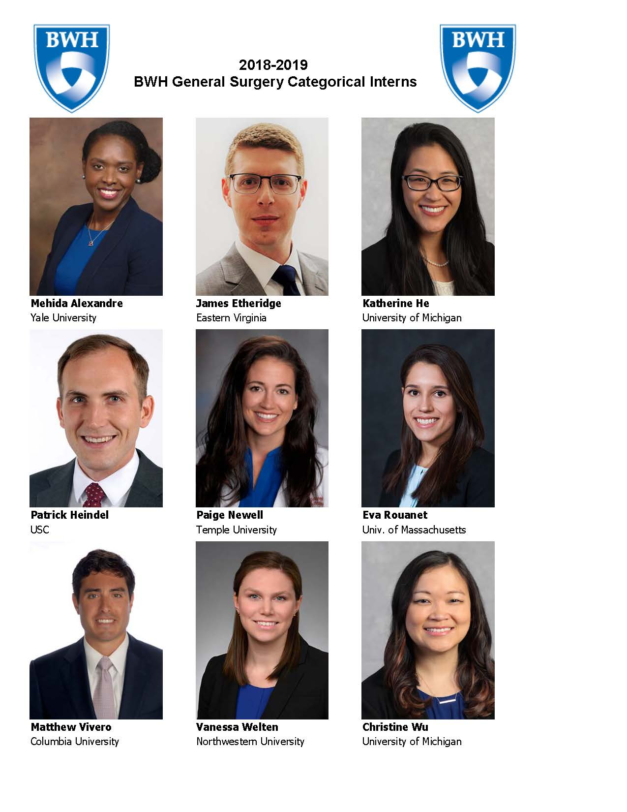 Incoming General Surgery Interns for AY 18-19 – Surgery News & Notes